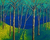 "Twilight Woods Original Acrylic Painting 8"" x 10"" by Mike Kraus"