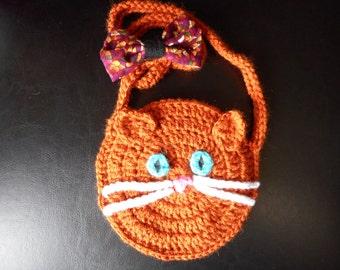 crochet orange cat purse
