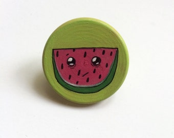 Watermelon Brooch Pin // Hand Painted Wooden Brooch
