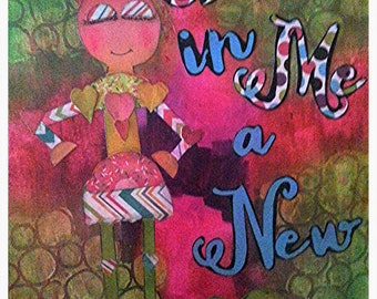 Beautiful 12x12 mixed media painting/paper piecing Robot (boy).  Create in Me a New Heart.
