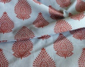 Seconds Sale : Organic Cotton, Indian Fabric, Blue Base, Maroon Block Print, Herbal Dyed , 5.25 yards, FABRIC FADING