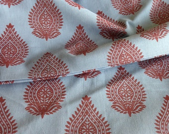 Organic Cotton, Indian Fabric, By the Yard, Blue Base, Maroon Block Print, Herbal Dyed , Natural Plant Dye, Cambric Cotton, Safe Cloth,