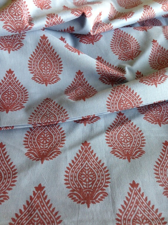 Seconds sale organic cotton indian fabric blue base for Patterned material for sale