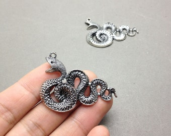 6 pcs of Antique Silver Rattle Snake Charms 30mmx49mm