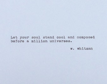 Walt Whitman - Vintage Typewriter Quote - Let Your Soul Stand  - Quote Cardstock