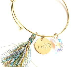 i love unicorn bangle bracelet // Handmade // Tassel // Swarovski AB Moon