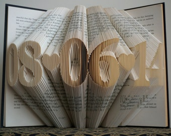 Folded Book Art - Anniversary Gift - 1st Wedding Anniversary -Gift for Him - Gift for Her - Wedding Date - Birthday Gift