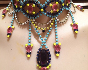 ISIS neon painted rhinestone necklace