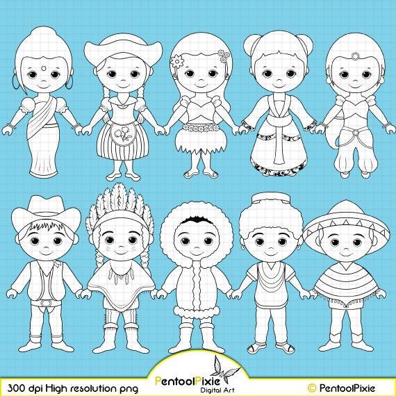 Unity Line Art Map : Children around the world digital stamp clipart