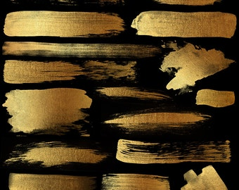 Golden Paint Strokes - High Resolution PNG Gold Watercolor Paint Strokes and Splashes for Scrapbooking, Invitations, Embellishments