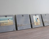 SET OF 4 Photo Holders - Set of 4 - 5x7 or 4x6 photo frame, clip frame, picture frame, hanging clipboard, wall decor, distressed