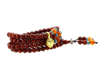 6mm Small Red Wood 108 Prayer Beads Mala Wrap Bracelet Necklace with a Charm
