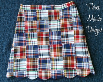 Girls Patchwork Madras Scalloped Skirt