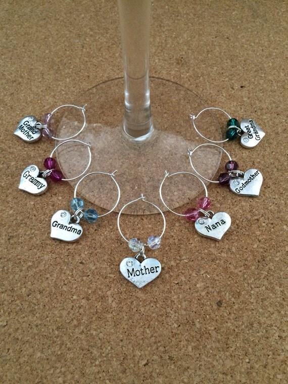 family wine glass charm holder choose swarovski