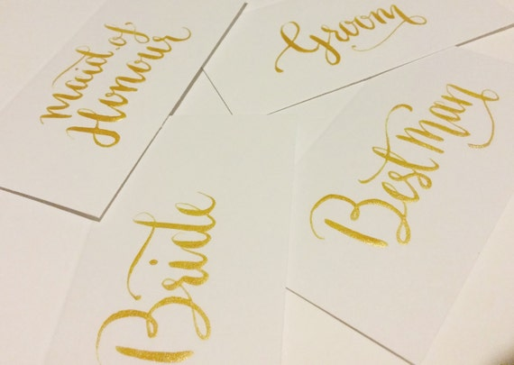 Gold Wedding Place Card Calligraphy By Bluecalligraphy On Etsy