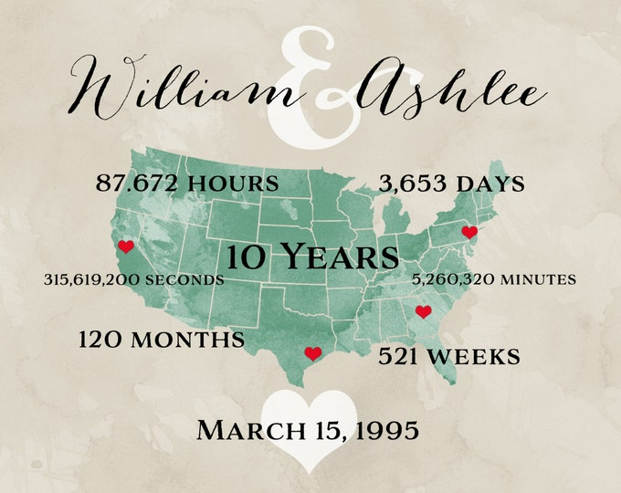 ANY WORDING - Personalized Anniversary Gift for Men, Custom 10 Year Gift for Her, Anniversary Gift for Couple Parents Travel Maps