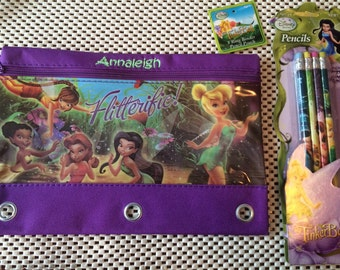 Tink Tinkerbell Fairies 3 Ring Pencil Case Pouch - Monogrammed