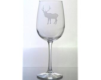 Elk  Wine Glass / Free Personalization / Wildlife 16oz Wine Glass / Elk Engraved Wine Glass / Personalized Glass / Personalized Gift