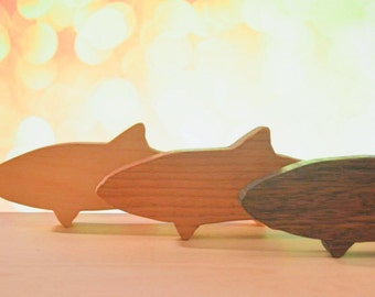 "Three 7 1/2"" X 2 3/4"" Wooden Fish Cutouts"