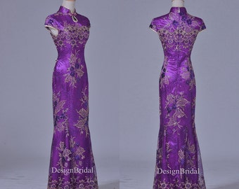 Purple Qipao Dress,Pretty Embroider Cheongsam,Lace Sequin Embroidery Dress,Vintage Mermaid Dress,Mother of the Bride Wedding Guest Qipao
