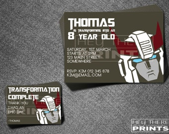 Prowl Transformers Invitations and Thank You Cards - Autobots - Optimus Prime - Bumblebee