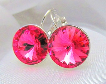 Large Swarovski Elements Rivolie Crystal Leverback Earrings - Rose Pink