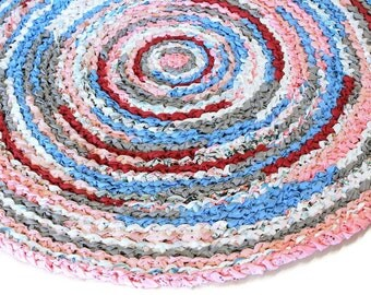 Crochet Rag Rug, Round, Recyled Fabric, Throw Rug, 42 inch,  Livingroom Rag Rug, Kitchen Rug, Crochet Rag Carpet, Rag Mat, Ready to Ship