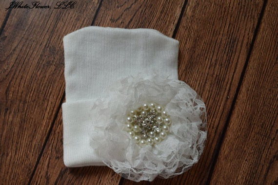 Newborn hospital hat with White lace flower, Baby hat,  newborn girl hat, infant girl hat, hospital newborn hat, newborn hat, infant hat