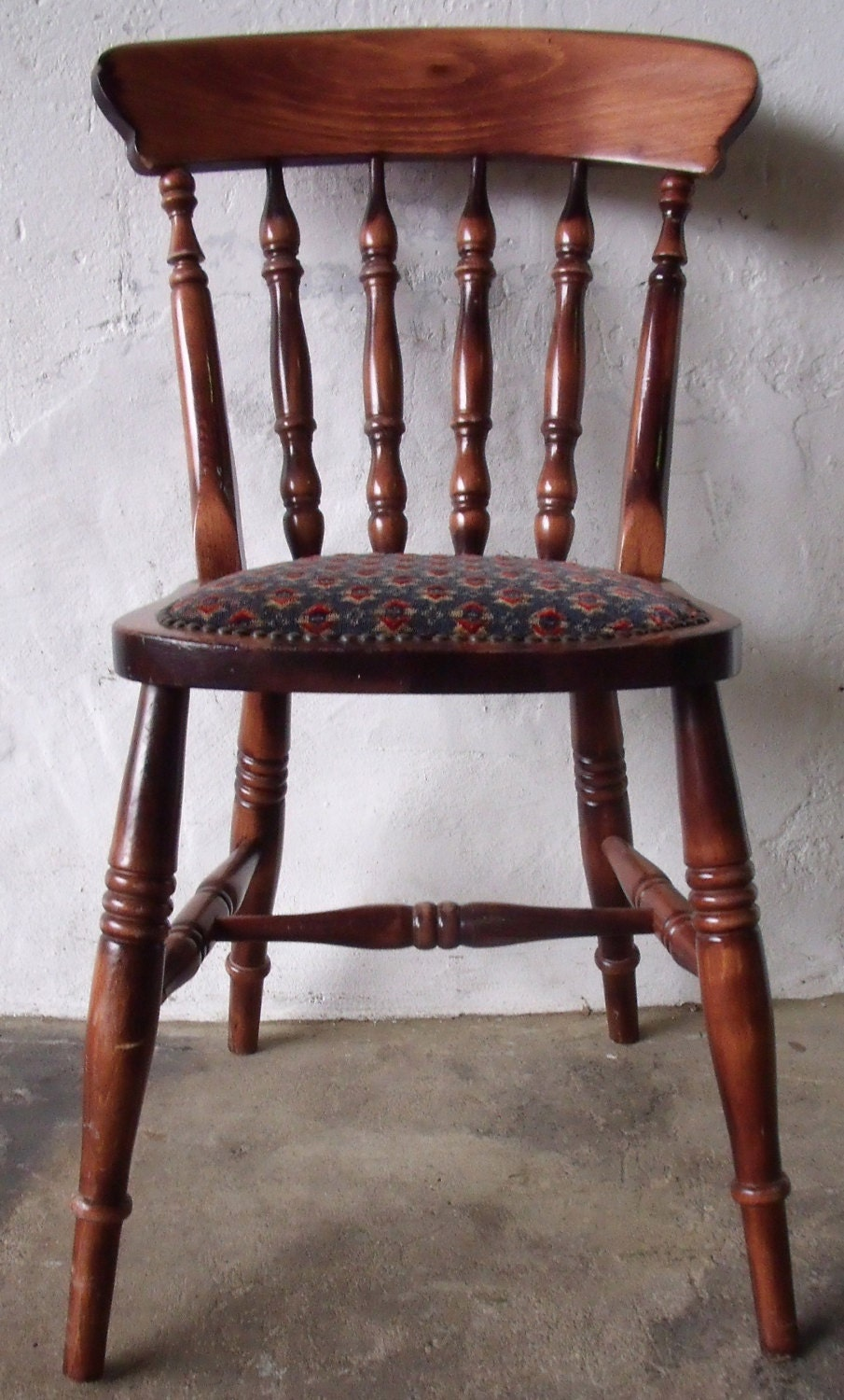 Oak Spindle Dining Chairs ~ Solid oak spindle back dining chair kitchen by
