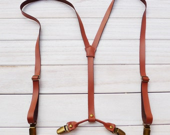 Wedding Suspender.Brown Leather Suspenders.2 cm width.Mens Suspenders.Party Suspenders.Casual Suspenders.Dress Suspenders.Mens Gifts