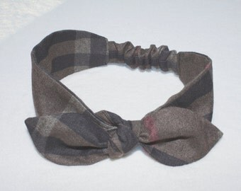 Brown and Black Plaid Knot - hairband for babies, kids, girls, women.