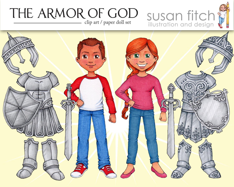 armor of god clip art u0026 paper doll set
