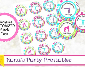Gymnastics Party Printables - 2 Inch Round Gymnastics Labels - YOU PRINT - CUSTOM Text - Gymnastics Cupcake Toppers - Thank You