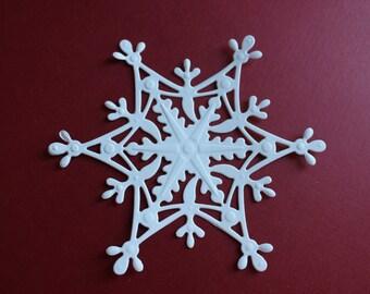 10 Large Embossed Snowflake Die Cuts