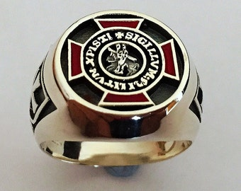 Knights Templar Ring Sterling Silver 925 Masonic / Tempelritter Freimaurer ring Handmade All Sizes !!!