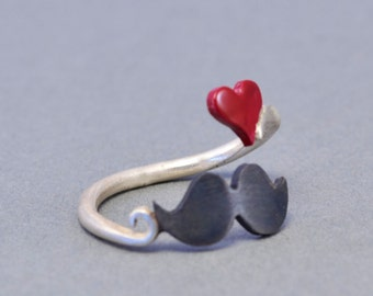 Ring I Love Mustache Red Heart Geek Jewelry Sterling Silver 925 Wrap Ring Fashion Ring Teens Gift Idea Under 30 I Love Mustache Jewelry