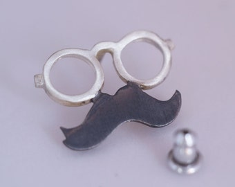 Glasses Mustache Lapel Pin Sterling Silver 925 Geek Jewelry for Him Silver Pin Glasses Mustache Jewelry Pin Gift Under 30 Mens Pin Gift