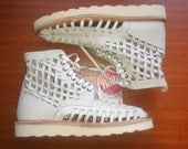 SUMMER SHOES - UNISEX Rollie Shoes Thick sole Huarache, Off White Leather Shoes Boots Size 9 (Euro) 40 #19