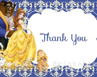 Instant Download, Belle, Beauty & the Beast Thank you card, Disney Princess, Kid's Birthday Party thank you, Birthday thank you card