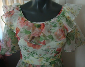 Vintage Floral Southern Belle Dress Size 2/4.