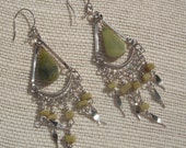 Chandelier earrings silver tone Green semiprecious stone , Boho , Beach , Christmas , Fun