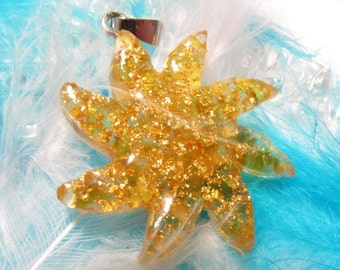 Orgone / Orgon pendant - SUN with AMBER and RealGOLD - protection - sun - happiness