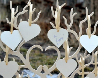 Wedding wishing Heart Tags Set of 50 Wishing wooden tree decorations