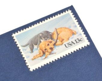 25 Cat & Dog Postage Stamps - 13c - Vintage 1982 - Unused - Quantity of 25