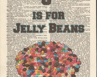 J is for Jelly Beans Vintage Upcycled Book Page Dictionary Art Print Mixed Media