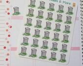 30 Trash can stickers with lettering for Erin Condren Life Planner Filofax Gillio #SWM00076