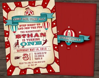 Vintage Circus Birthday Invitation/DIY Printable