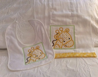 Baby Bib & burp pad embroidered