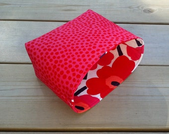 Pink fabric basket organizer made from Marimekko fabric Pirput parput, Baby room decor, Storage bin container, Scandinavian design