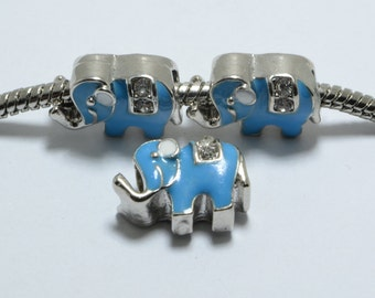 10pcs Elephant Enamel Beads with Crystals in Light Blue, 10mm, European Style Large Hole Beads #SD-S7713